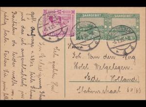 Saargebiet: 1925 Saarbrücken Ganzsache nach Holland