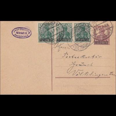 Saargebiet: 1921 Ganzsache Germania von Saarbrücken nach Völklingen