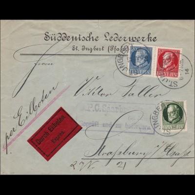 Saar: St. Ingbert Eilboten Geprüft nach Strassburg 1914