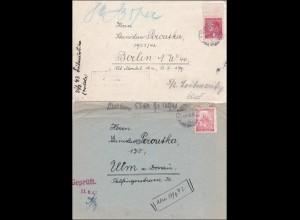 B&M: 2 Belege mit Inhalt aus Untersuchungsgefängnis Jungbunzlau, Zensur 1943