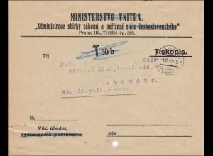 B&M: Brief von Prag nach Olomouc - Taxe 1940