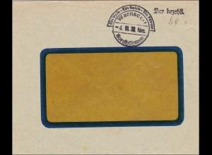 B&M: Warnsdorf 1938 - bar bezahlt, Propaganda Stempel