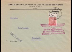 B&M: Brief Asch 1938 als Drucksache nach Rossbach - Propagandastempel