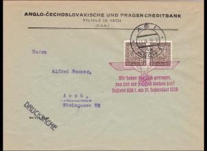 B&M: Brief Asch 1938 als Drucksache - Propagandastempel
