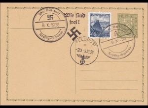 B&M: Ganzsache mit 3 Stempeln Teplitz Schönau 1938 - Propaganda
