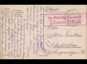 B&M: Deutsche Dienstpost - Feldpost Prag 1940, Ansichtskarte