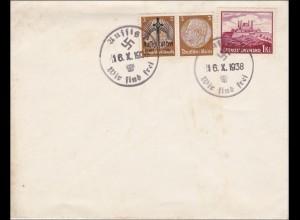 B&M: Brief mit Propaganda Sonderstempel Aussig 1938