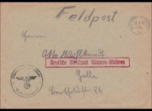 B&M: Feldpost Brief Deutsche Dienstpost und Deutsche Reichspost 1942