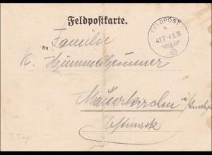 B&M: Feldpostkarte 1939 mit Angabe der Feldpostnummer 05027, Frühes Datum