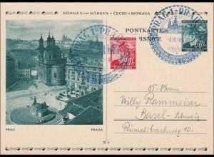 B&M: Ganzsache mit Sonderstempel Prag nach Basel 1940