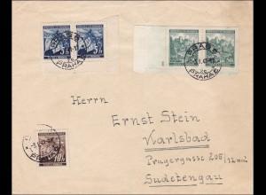 B&M: Brief von Prag nach Karlsbad 1941 mit Eckrändern