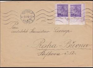 B&M: Brief von Brünn nach Prag 1942 Eckrand mit Vignette