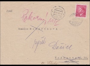 B&M: Brief aus Kluky 1945 !!! - Überroller, rückseitige Werbung für Anzüge