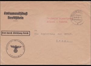 B&M: Amtsanwaltschaft Neutitschein nach Prag an die Gauleitung 1939