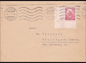 B&M: Brief von Prag nach Villingen, Eckrandmarke mit 2 Sternen