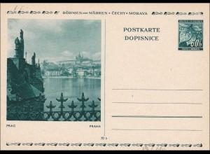 B&M: Ganzsache - Postkarte Prag