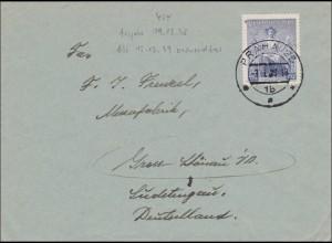 B&M: Brief von Prag ins Sudetengau 1939