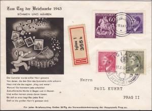 B&M: Tag der Briefmarke 1943, Einschreiben nach Prag von Iglau
