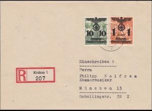 Generalgouvernement (GG): Einschreibe Doppelbrief von Krakau nach München 1940