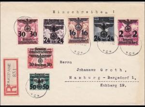 Generalgouvernement (GG): MiNr. 14-39, Satz auf Briefvorderseiten Zakopane