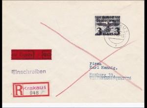 Generalgouvernement(GG):R-Eilbrief der seltenen 3 Zloty Marke nach Hamburg