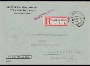 Oberversicherungsamt Strassburg im Elsass nach Karlsruhe 1942