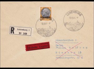 Luxemburg: 1941, Einschreiben /Eilbote nach München - Sonderstempel