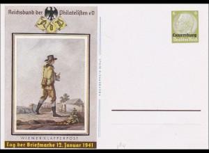 Luxemburg: 1941 Ganzsache P3, Tag der Briefmarke