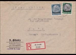 Lothringen: 1941, St. Avold, Einschreiben nach Metz