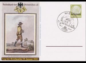 Lothringen: 1941, Ganzsache P2 aus Metz zum Tag der Briefmarke