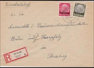 Lothringen: Einschreiben von St. Avold nach Strassburg 1941
