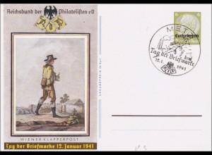 Lothringen: Ganzsache P3, Tag der Briefmarke 1941