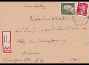 Elsass: Einschreiben Mühlhausen Illzath nach Kolmar 1943