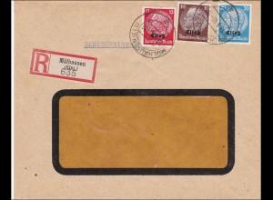 Elsass: Einschreiben von Mühlhausen 1940 nach Wiesbaden