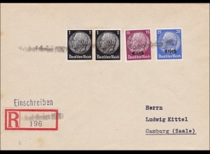 Elsass: Einschreiben Bischofsheim nach Camburg 1940