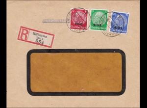 Elsass: Einschreiben aus Mühlhausen 1940 nach Wiesbaden