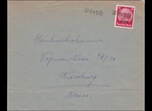 Elsass: Brief aus Börsch nach Strassburg 1940