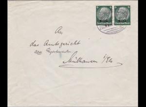Elsass: Einschreiben Mühlhausen nach Wiesbaden 1941 Bahnpoststempel
