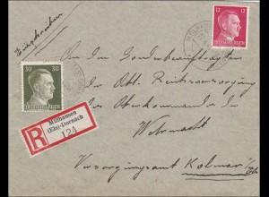 Elsass: Einschreiben Mühlhausen nach Kolmar an das OKW 1943