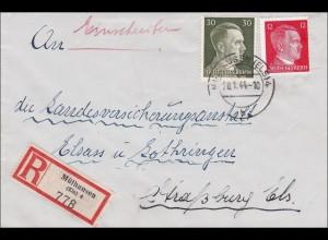 Elsass: Einschreiben Mühlhausen nach Straßburg 1944