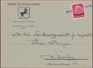 Elsass: Mairie de Geispolsheim nach Strassburg 1940