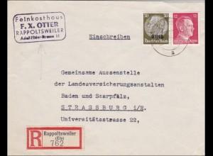 Elsass: Einschreiben von Rappoltsweiler nach Strassburg - Feinkost 1941
