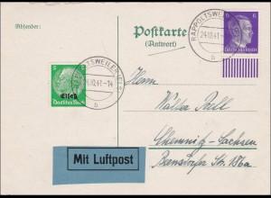 Elsass: Antwortkarte Luftpost Rappoltsweiler nach Chemnitz 1941