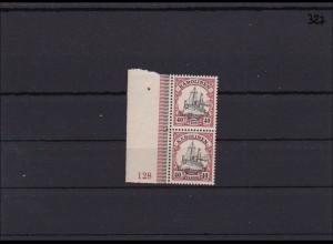 Karolinen MiNr. 13 ** postfrisch Seitenrand mit Plattennummer