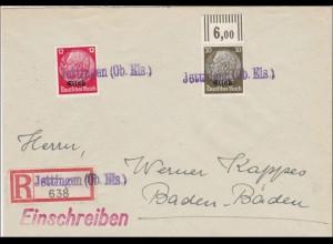Elsass: Einschreiben Jettingen nach Baden Baden 1940