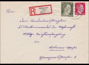 Elsass: Einschreiben Mühlhausen nach Kolmar 1943