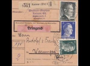 Elsass: Paketkarte Dringend von Kolmar nach Wasungen 1943