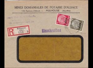 Elsass: Einschreiben Mühlhausen nach Wiesbaden 1941