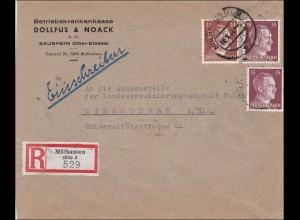 Elsass: Einschreiben Mühlhausen nach Strassburg 1944