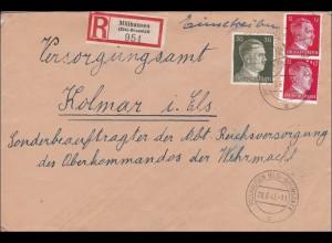 Elsass: Einschreiben von Mühlhausen nach Kolmar 1943
